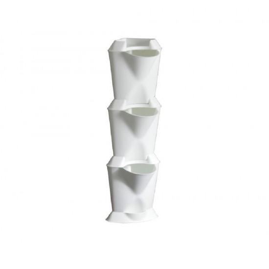 Dikey Bahçe Köşe Saksı - Beyaz - 16x16x57cm